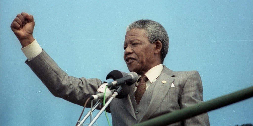 African National Congress vice-president Mandela addresses a capacity crowd