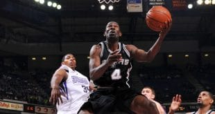 SACRAMENTO, CA - APRIL 12:  Michael Finley #4 of the San Antonio Spurs gets to the basket past Jason Thompson #34 of the Sacramento Kings on April 12, 2009 at ARCO Arena in Sacramento, California. NOTE TO USER: User expressly acknowledges and agrees that, by downloading and/or using this Photograph, user is consenting to the terms and conditions of the Getty Images License Agreement. Mandatory Copyright Notice: Copyright 2009 NBAE (Photo by Rocky Widner/NBAE via Getty Images) *** Local Caption *** Michael Finley;Jason Thompson