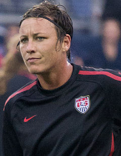 Wambach warming up for an international friendly match against Canada, September 2011